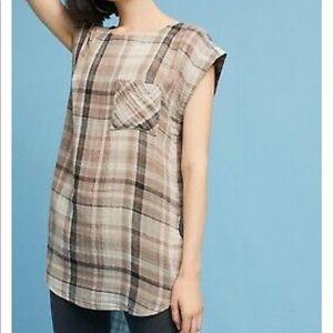 Anthropologie akemi + kin plaid tunic cap sleeve
